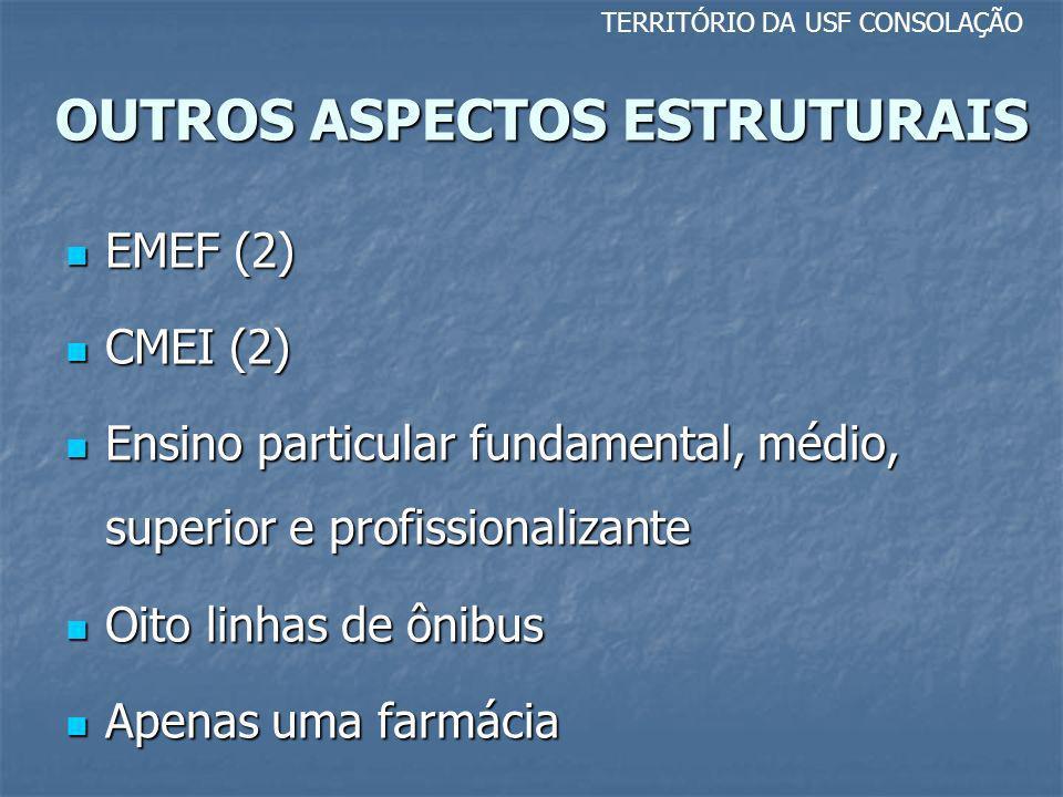OUTROS ASPECTOS ESTRUTURAIS TERRITÓRIO DA USF CONSOLAÇÃO EMEF (2) EMEF (2) CMEI (2) CMEI (2) Ensino particular fundamental, médio, superior e profissi