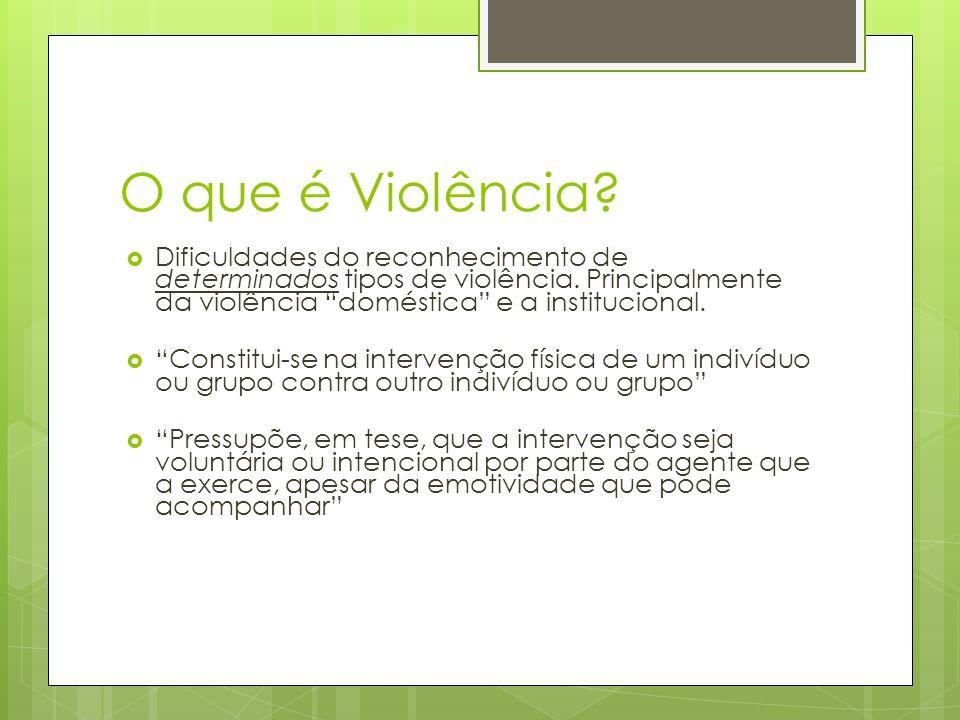 O que é Violência? Dificuldades do reconhecimento de determinados tipos de violência. Principalmente da violência doméstica e a institucional. Constit