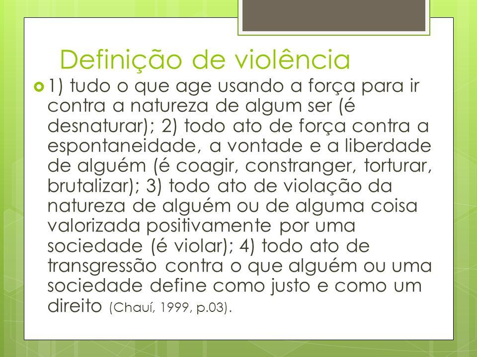 Definição de violência 1) tudo o que age usando a força para ir contra a natureza de algum ser (é desnaturar); 2) todo ato de força contra a espontane