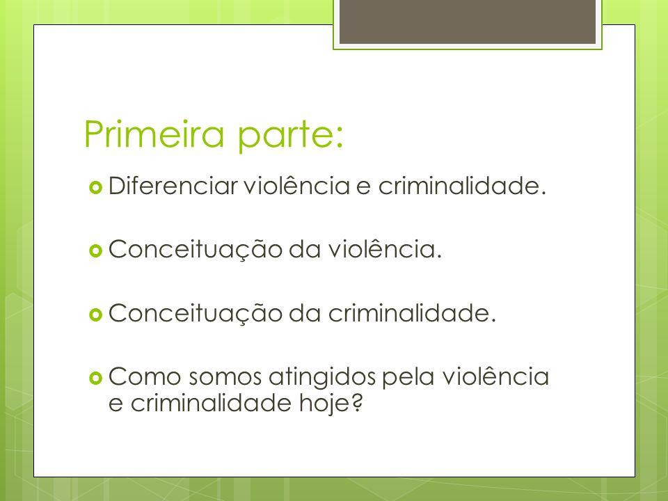 Primeira parte: Diferenciar violência e criminalidade. Conceituação da violência. Conceituação da criminalidade. Como somos atingidos pela violência e