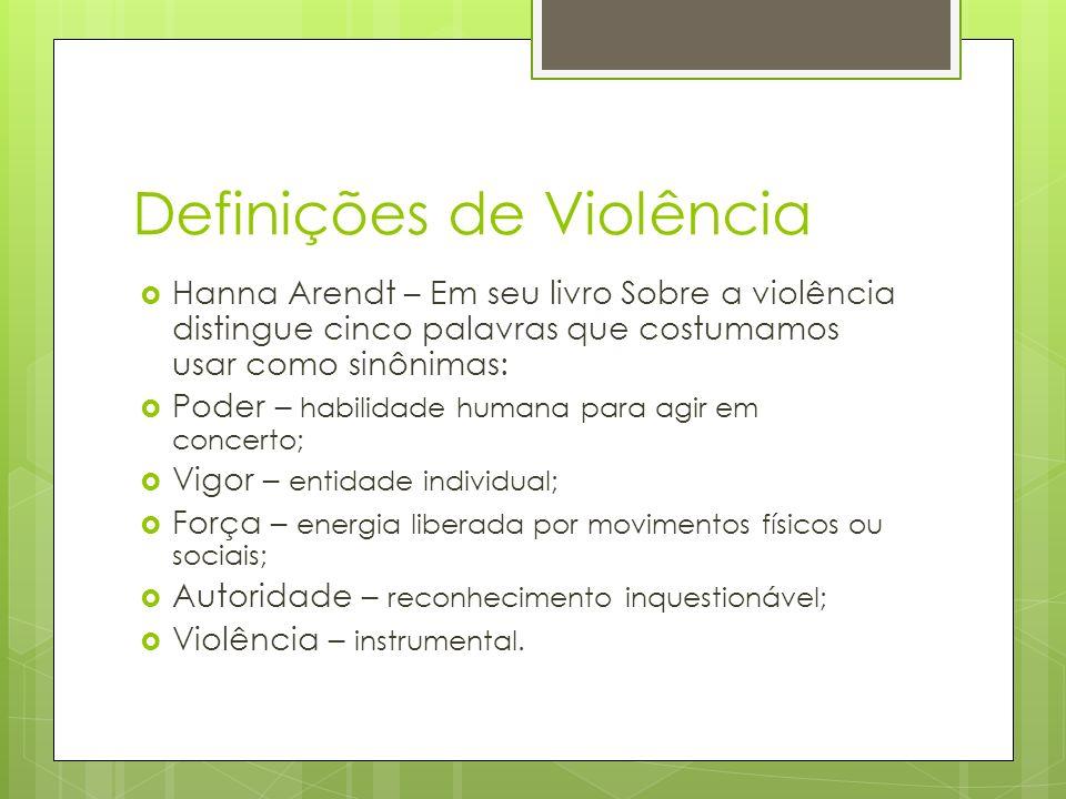 Definições de Violência Hanna Arendt – Em seu livro Sobre a violência distingue cinco palavras que costumamos usar como sinônimas: Poder – habilidade