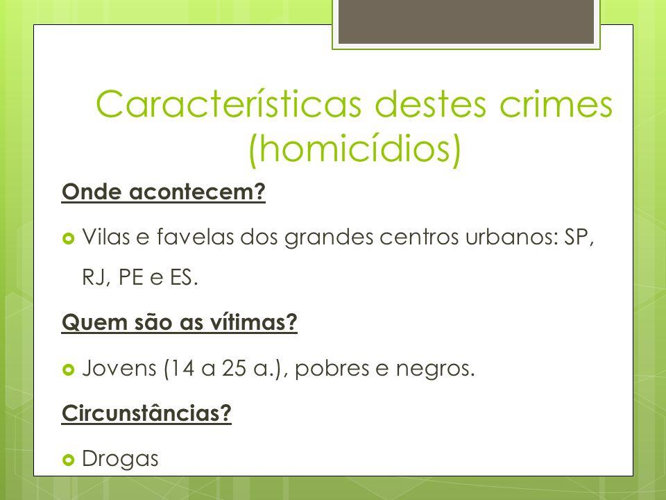 Características destes crimes (homicídios) Onde acontecem? Vilas e favelas dos grandes centros urbanos: SP, RJ, PE e ES. Quem são as vítimas? Jovens (