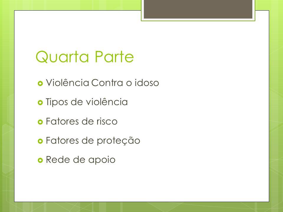 Quarta Parte Violência Contra o idoso Tipos de violência Fatores de risco Fatores de proteção Rede de apoio