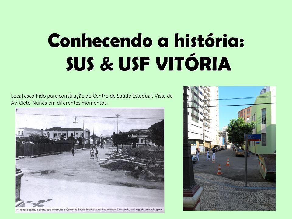 Conhecendo a história: SUS & USF VITÓRIA 6 Local escolhido para construção do Centro de Saúde Estadual. Vista da Av. Cleto Nunes em diferentes momento