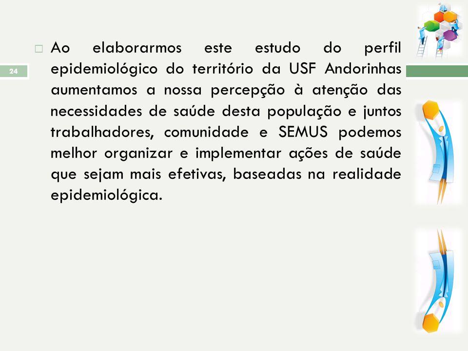 CONCLUSÃO ANDORINHAS é um território considerado pequeno quando comparado aos demais territórios; Possuiu uma comunidade altamente dependente do SUS,