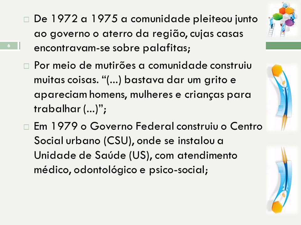 ORIGEM Este bairro foi criado, oficialmente, em 1975, mas sua ocupação teve início na década de 60 com a invasão dos terrenos da União e manguezais da