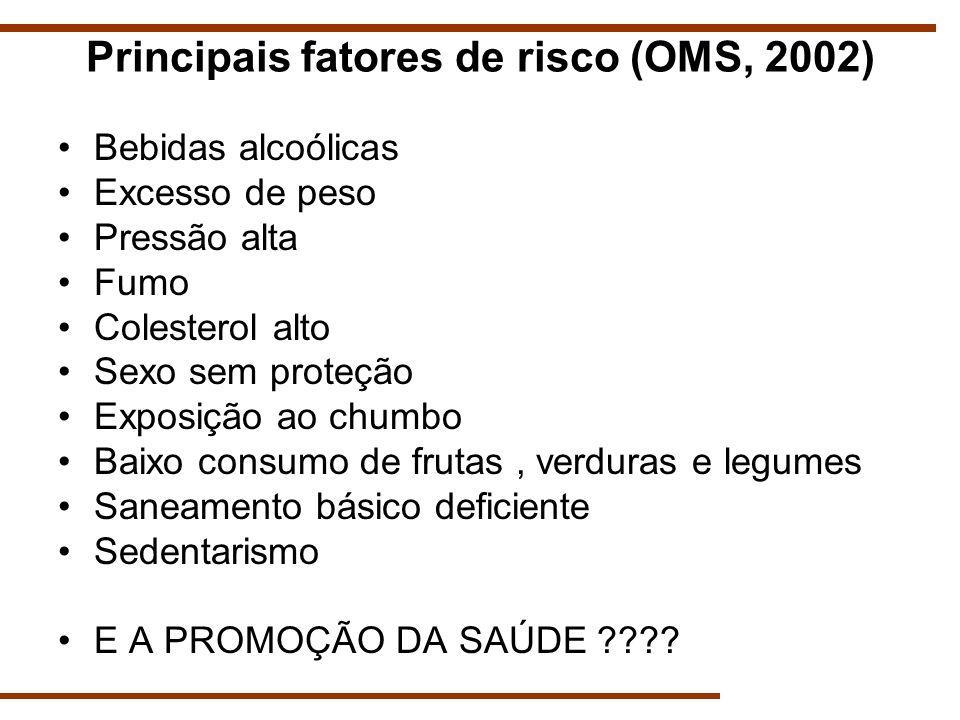 Principais fatores de risco (OMS, 2002) Bebidas alcoólicas Excesso de peso Pressão alta Fumo Colesterol alto Sexo sem proteção Exposição ao chumbo Bai