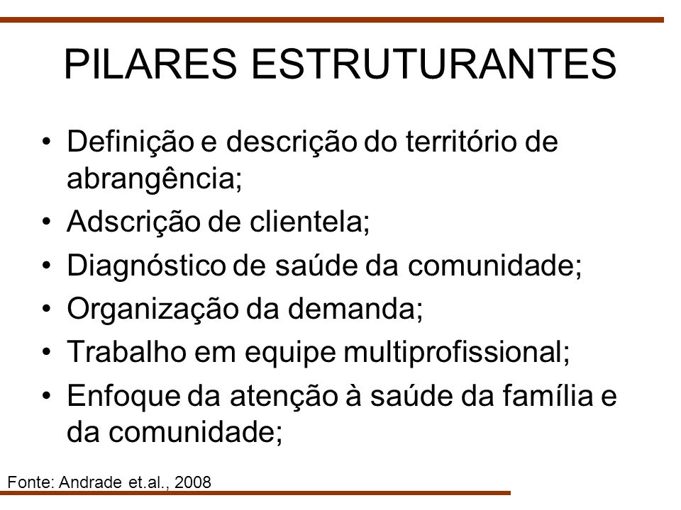 PILARES ESTRUTURANTES Definição e descrição do território de abrangência; Adscrição de clientela; Diagnóstico de saúde da comunidade; Organização da d