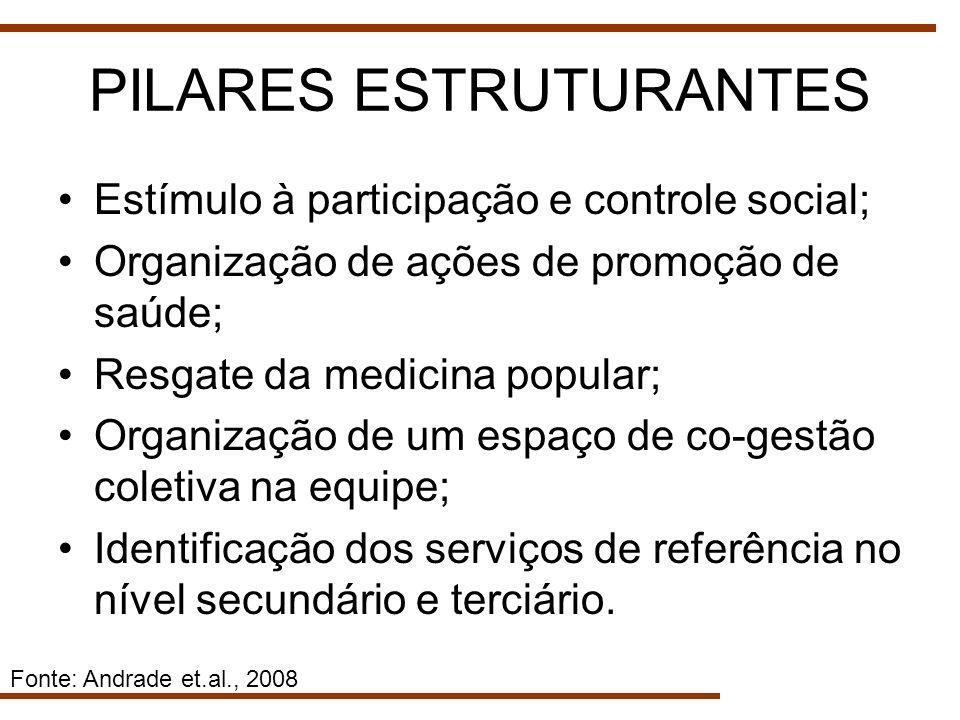 PILARES ESTRUTURANTES Estímulo à participação e controle social; Organização de ações de promoção de saúde; Resgate da medicina popular; Organização d