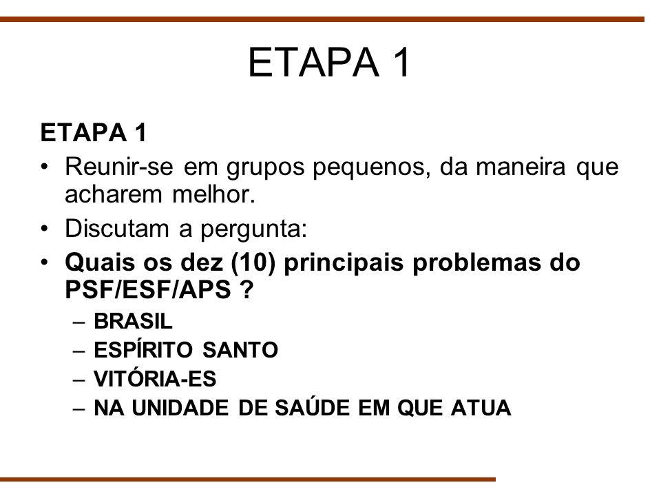 ETAPA 1 Reunir-se em grupos pequenos, da maneira que acharem melhor. Discutam a pergunta: Quais os dez (10) principais problemas do PSF/ESF/APS ? –BRA