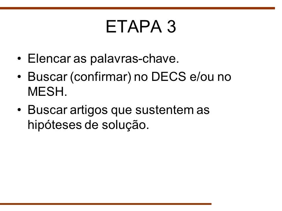 ETAPA 3 Elencar as palavras-chave. Buscar (confirmar) no DECS e/ou no MESH. Buscar artigos que sustentem as hipóteses de solução.