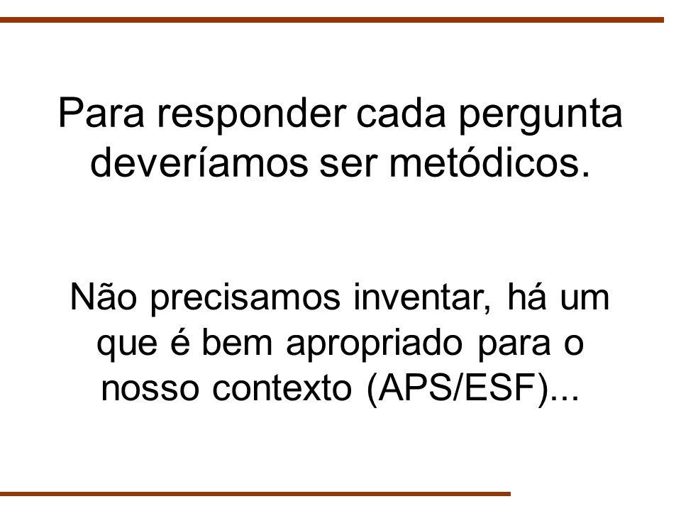 Para responder cada pergunta deveríamos ser metódicos. Não precisamos inventar, há um que é bem apropriado para o nosso contexto (APS/ESF)...