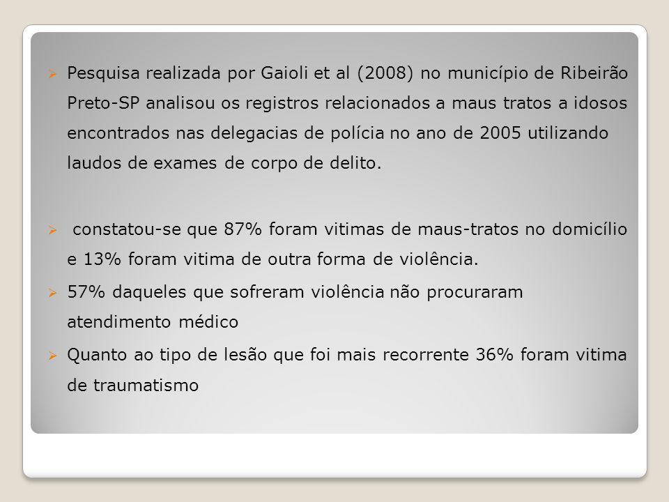 Pesquisa realizada por Gaioli et al (2008) no município de Ribeirão Preto-SP analisou os registros relacionados a maus tratos a idosos encontrados nas
