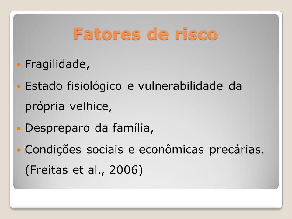 Fragilidade, Estado fisiológico e vulnerabilidade da própria velhice, Despreparo da família, Condições sociais e econômicas precárias. (Freitas et al.
