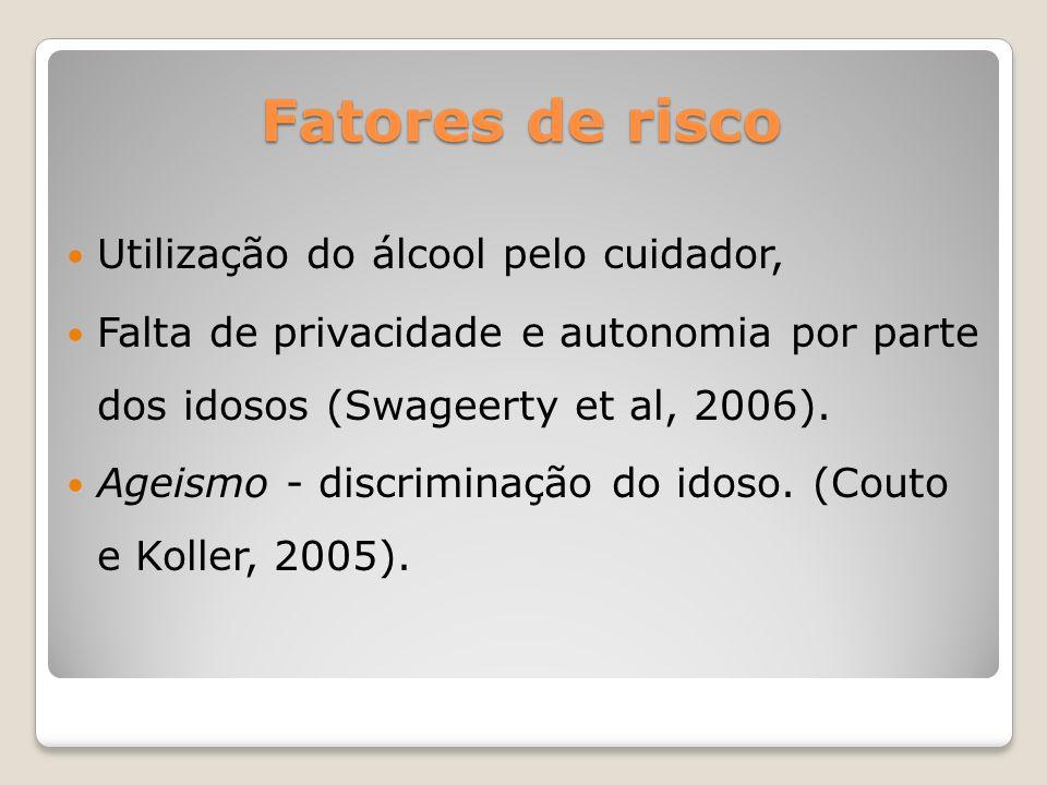 Utilização do álcool pelo cuidador, Falta de privacidade e autonomia por parte dos idosos (Swageerty et al, 2006). Ageismo - discriminação do idoso. (
