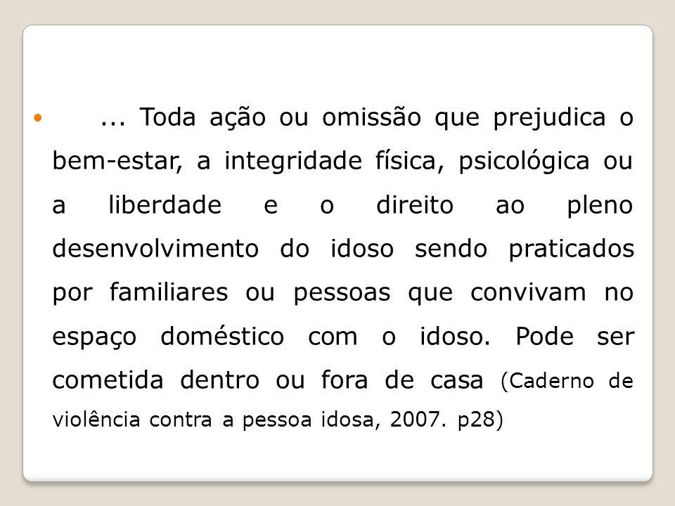 Pesquisa realizada por Gaioli et al (2008) no município de Ribeirão Preto-SP analisou os registros relacionados a maus tratos a idosos encontrados nas delegacias de polícia no ano de 2005 utilizando laudos de exames de corpo de delito.