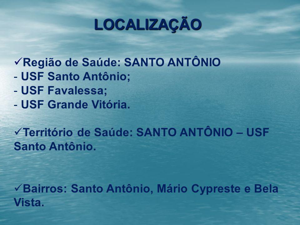 Região de Saúde: SANTO ANTÔNIO - USF Santo Antônio; - USF Favalessa; - USF Grande Vitória. Território de Saúde: SANTO ANTÔNIO – USF Santo Antônio. Bai