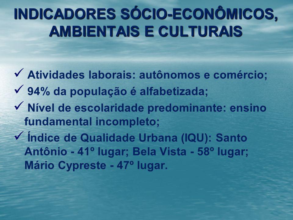 INDICADORES SÓCIO-ECONÔMICOS, AMBIENTAIS E CULTURAIS Atividades laborais: autônomos e comércio; 94% da população é alfabetizada; Nível de escolaridade