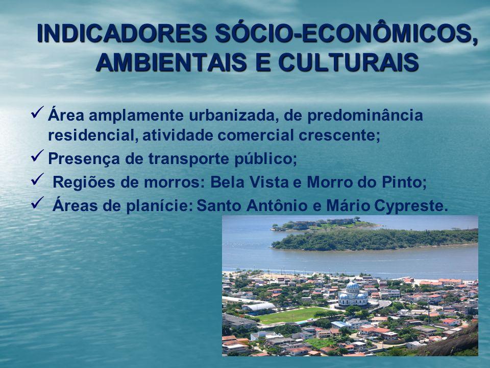 INDICADORES SÓCIO-ECONÔMICOS, AMBIENTAIS E CULTURAIS Área amplamente urbanizada, de predominância residencial, atividade comercial crescente; Presença