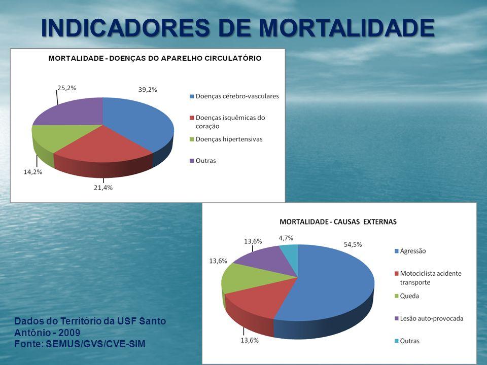 INDICADORES DE MORTALIDADE Dados do Território da USF Santo Antônio - 2009 Fonte: SEMUS/GVS/CVE-SIM