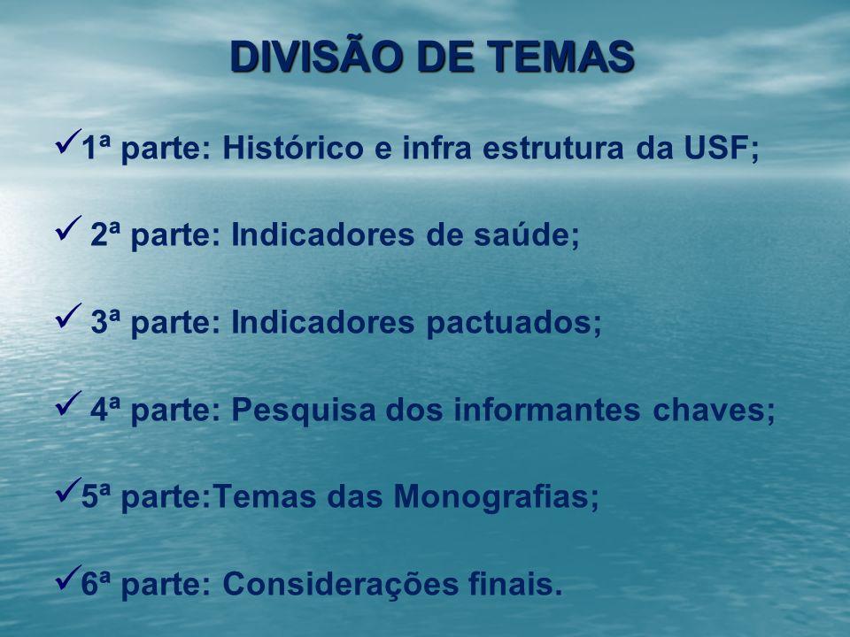 DIVISÃO DE TEMAS 1ª parte: Histórico e infra estrutura da USF; 2ª parte: Indicadores de saúde; 3ª parte: Indicadores pactuados; 4ª parte: Pesquisa dos