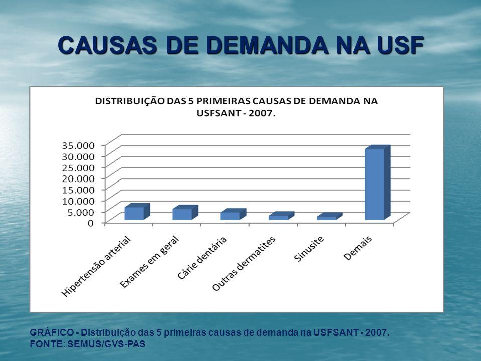 CAUSAS DE DEMANDA NA USF GRÁFICO - Distribuição das 5 primeiras causas de demanda na USFSANT - 2007. FONTE: SEMUS/GVS-PAS