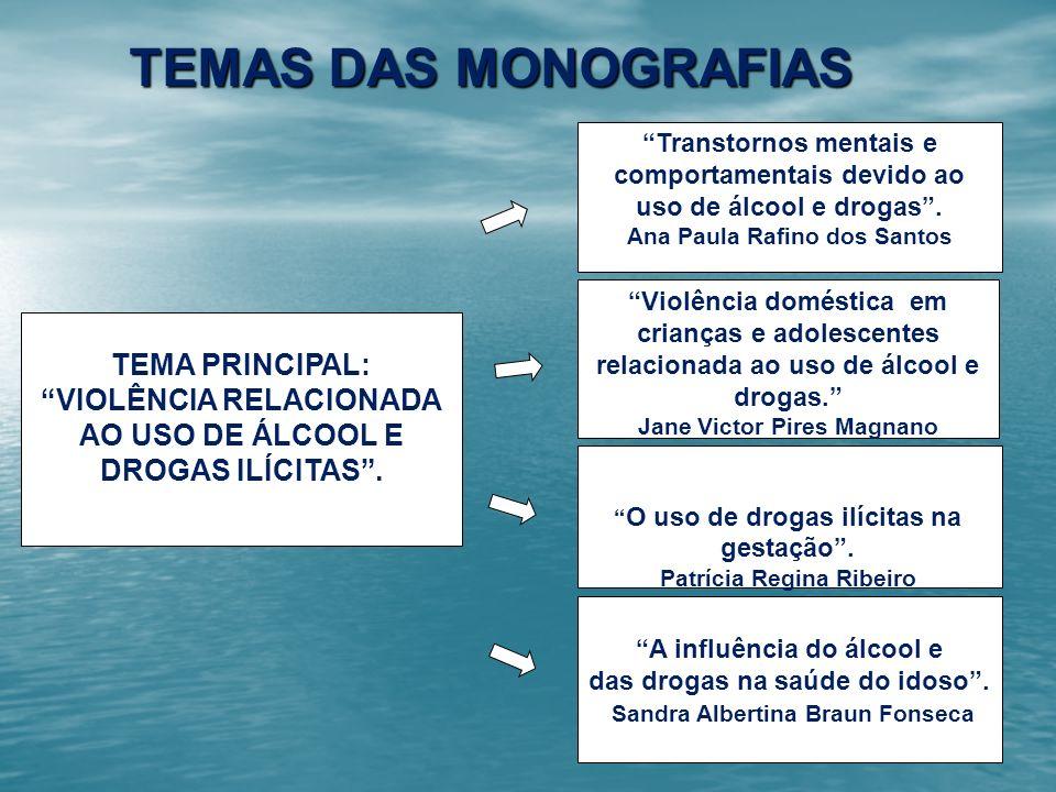 TEMAS DAS MONOGRAFIAS TEMA PRINCIPAL: VIOLÊNCIA RELACIONADA AO USO DE ÁLCOOL E DROGAS ILÍCITAS. A influência do álcool e das drogas na saúde do idoso.