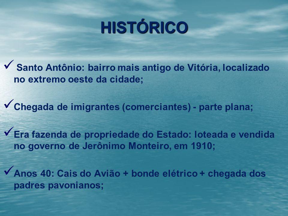 HISTÓRICO Santo Antônio: bairro mais antigo de Vitória, localizado no extremo oeste da cidade; Chegada de imigrantes (comerciantes) - parte plana; Era