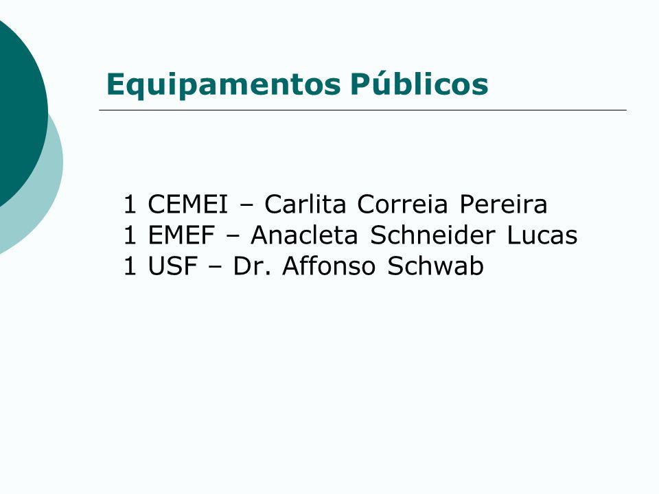 Equipamentos Públicos 1 CEMEI – Carlita Correia Pereira 1 EMEF – Anacleta Schneider Lucas 1 USF – Dr. Affonso Schwab