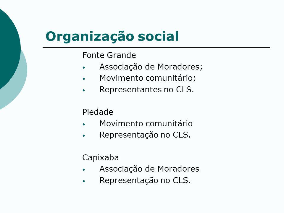 Organização social Fonte Grande Associação de Moradores; Movimento comunitário; Representantes no CLS. Piedade Movimento comunitário Representação no