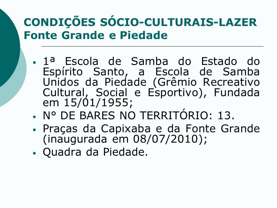 CONDIÇÕES SÓCIO-CULTURAIS-LAZER Fonte Grande e Piedade 1ª Escola de Samba do Estado do Espírito Santo, a Escola de Samba Unidos da Piedade (Grêmio Rec