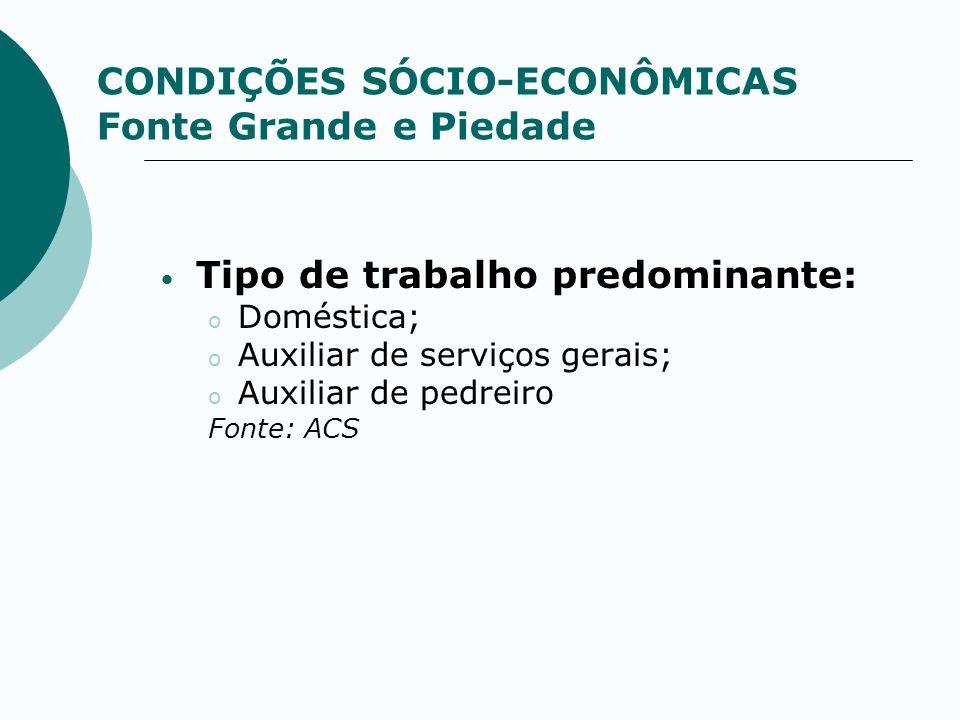 CONDIÇÕES SÓCIO-ECONÔMICAS Fonte Grande e Piedade Tipo de trabalho predominante: o Doméstica; o Auxiliar de serviços gerais; o Auxiliar de pedreiro Fo