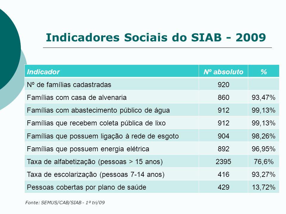 Indicadores Sociais do SIAB - 2009 IndicadorNº absoluto% Nº de famílias cadastradas920 Famílias com casa de alvenaria86093,47% Famílias com abastecime