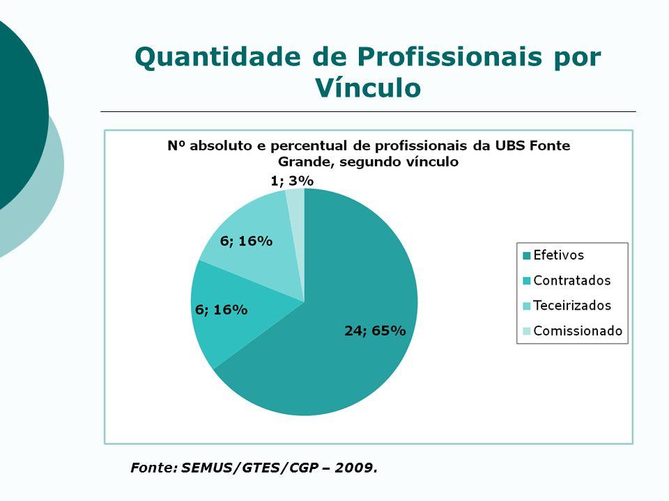 Quantidade de Profissionais por Vínculo Fonte: SEMUS/GTES/CGP – 2009.
