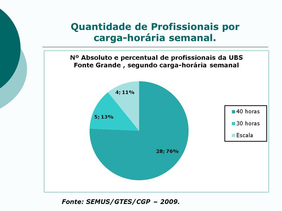 Quantidade de Profissionais por carga-horária semanal. Fonte: SEMUS/GTES/CGP – 2009.