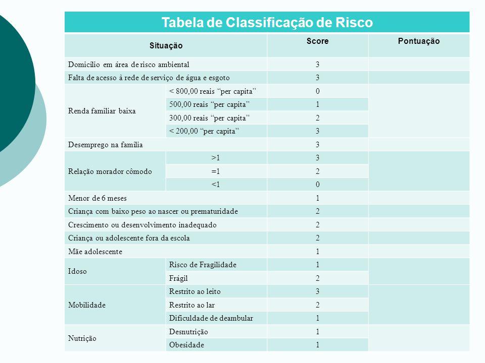 Tabela de Classificação de Risco Situação ScorePontuação Domicílio em área de risco ambiental3 Falta de acesso à rede de serviço de água e esgoto3 Ren