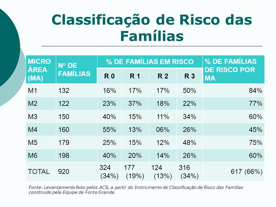 Classificação de Risco das Famílias MICRO ÁREA (MA) N° DE FAMÍLIAS % DE FAMÍLIAS EM RISCO % DE FAMÍLIAS DE RISCO POR MA R 0R 1R 2R 3 M113216%17% 50%84