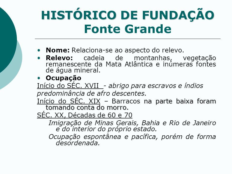 HISTÓRICO DE FUNDAÇÃO HISTÓRICO DE FUNDAÇÃO Fonte Grande Nome: Relaciona-se ao aspecto do relevo. Relevo: cadeia de montanhas, vegetação remanescente