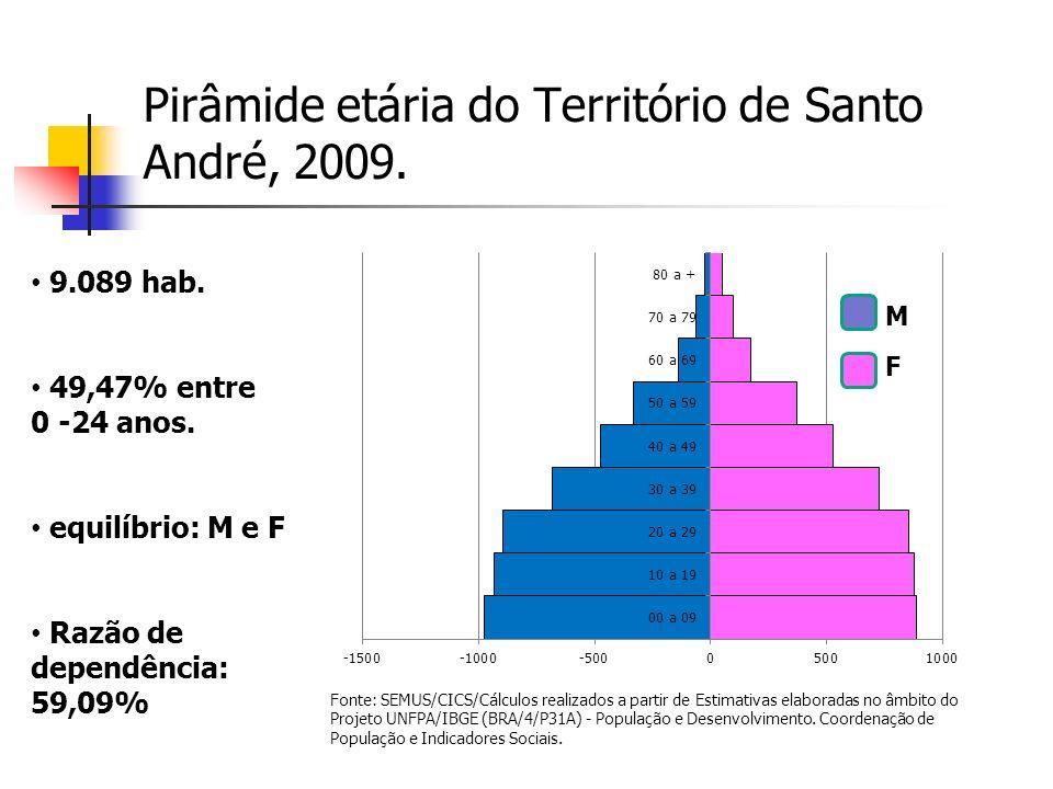 Pirâmide etária do Território de Santo André, 2009. M F 9.089 hab. 49,47% entre 0 -24 anos. equilíbrio: M e F Razão de dependência: 59,09% Fonte: SEMU