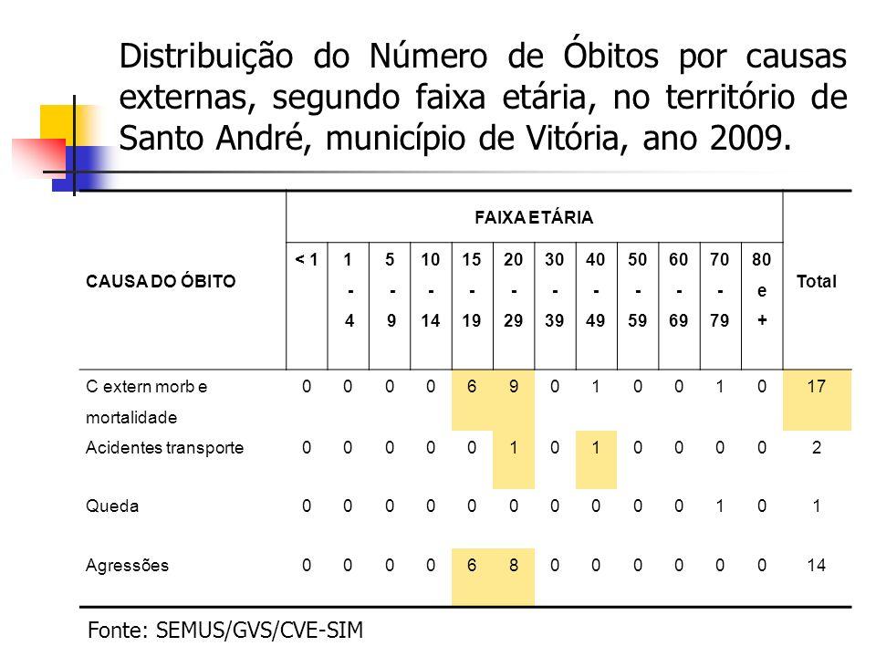 Distribuição do Número de Óbitos por causas externas, segundo faixa etária, no território de Santo André, município de Vitória, ano 2009. CAUSA DO ÓBI