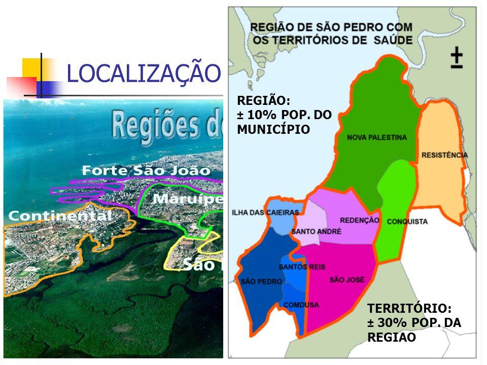 Distribuição do Número de Óbitos e Percentual das cinco primeiras causas do total de óbitos ocorridos no Território de Santo André, Região de Saúde de São Pedro e do Município de Vitória, acumuladas para os anos 2005-2009.