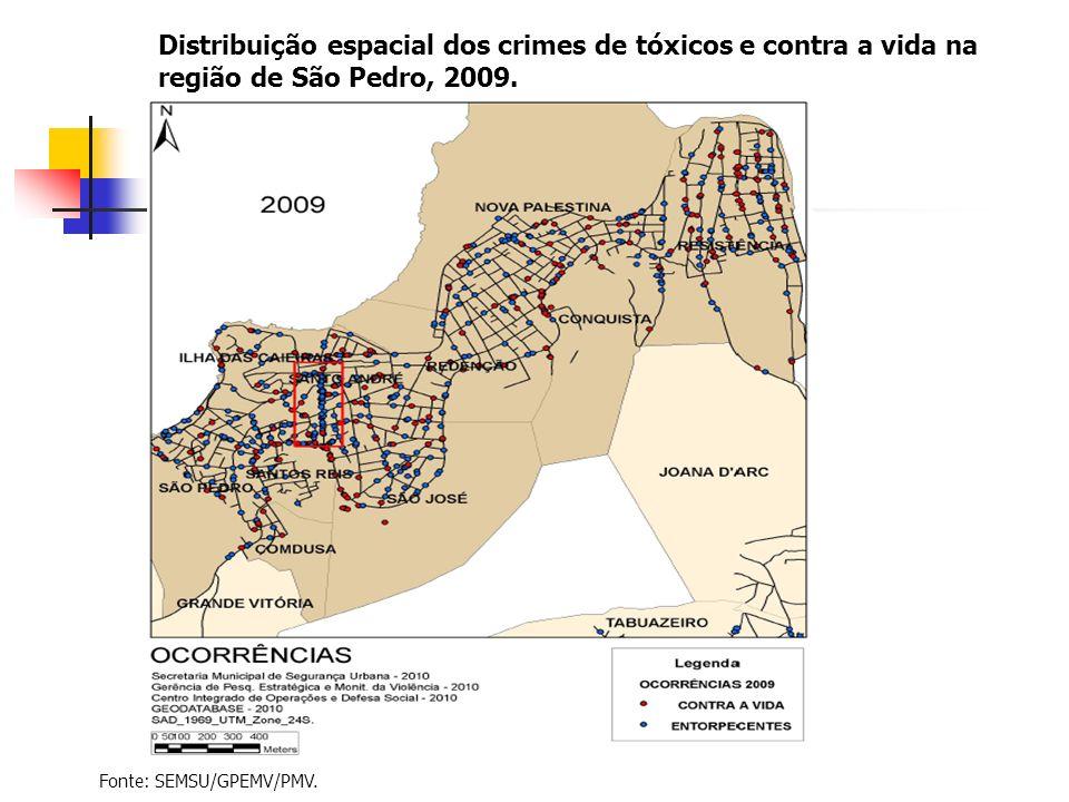 Distribuição espacial dos crimes de tóxicos e contra a vida na região de São Pedro, 2009. Fonte: SEMSU/GPEMV/PMV.
