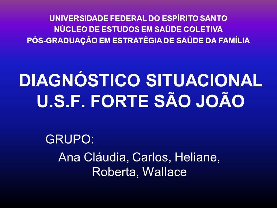 DIAGNÓSTICO SITUACIONAL U.S.F. FORTE SÃO JOÃO GRUPO: Ana Cláudia, Carlos, Heliane, Roberta, Wallace UNIVERSIDADE FEDERAL DO ESPÍRITO SANTO NÚCLEO DE E