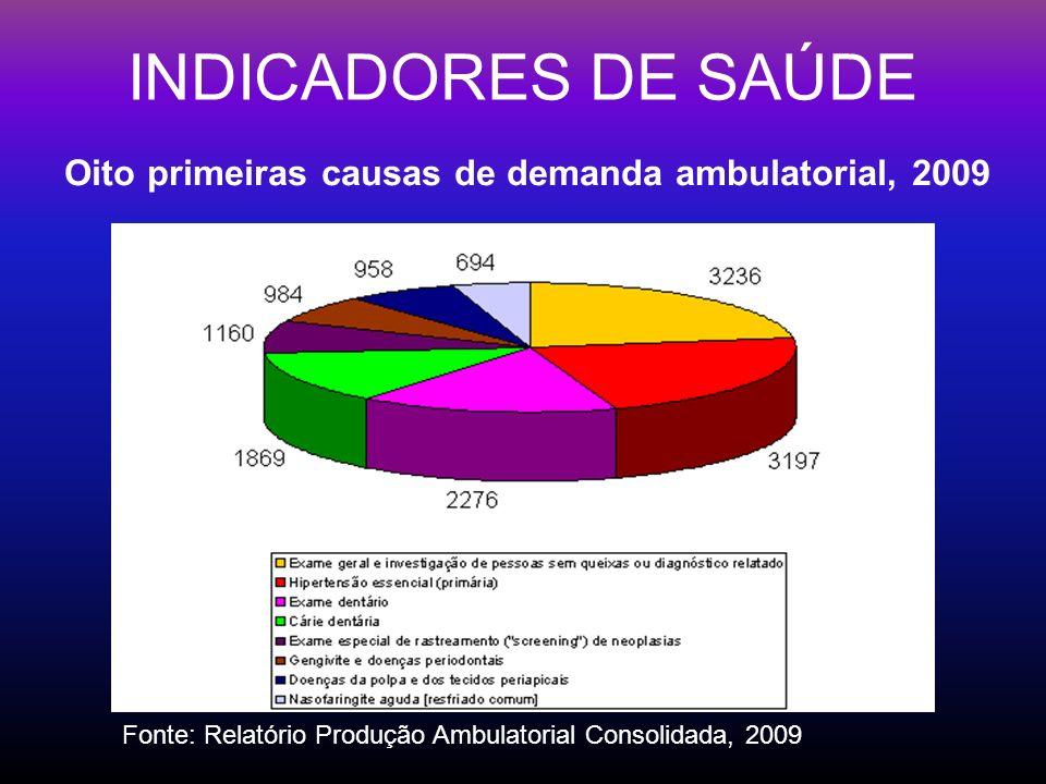 INDICADORES DE SAÚDE Oito primeiras causas de demanda ambulatorial, 2009 Fonte: Relatório Produção Ambulatorial Consolidada, 2009