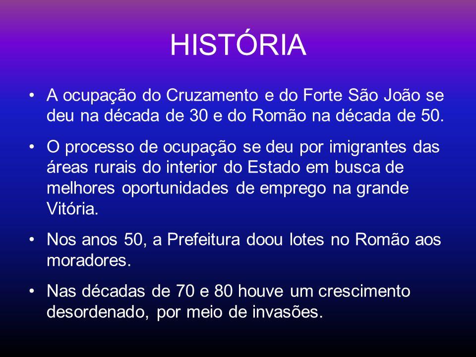 HISTÓRIA A ocupação do Cruzamento e do Forte São João se deu na década de 30 e do Romão na década de 50. O processo de ocupação se deu por imigrantes