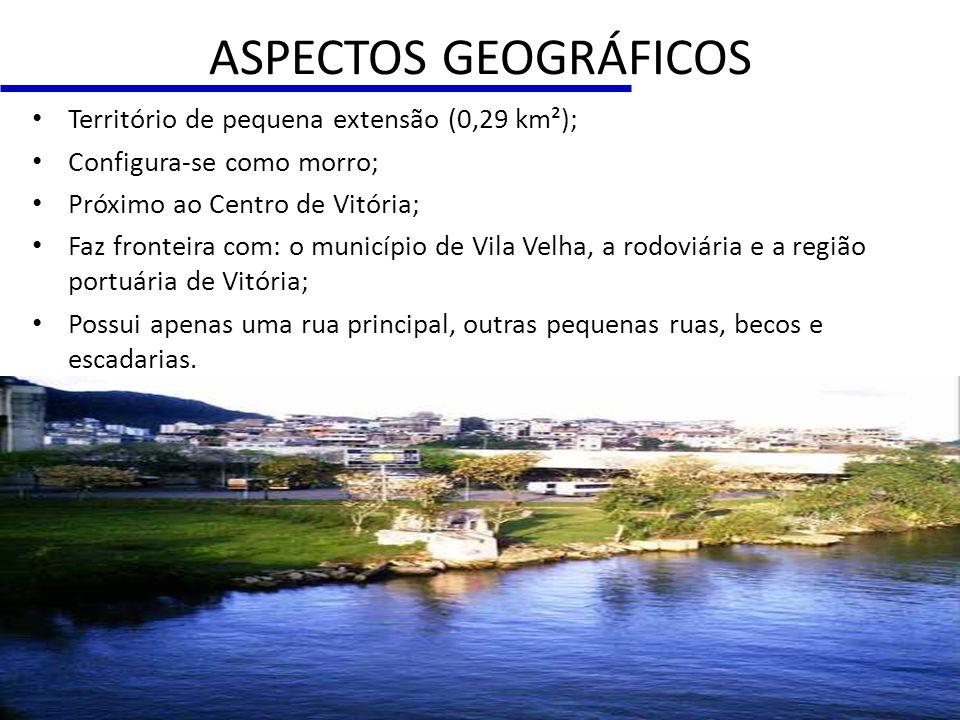 ASPECTOS GEOGRÁFICOS Território de pequena extensão (0,29 km²); Configura-se como morro; Próximo ao Centro de Vitória; Faz fronteira com: o município
