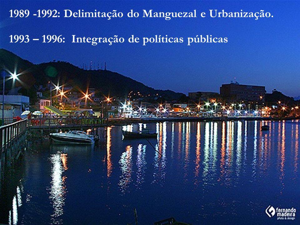 1989 -1992: Delimitação do Manguezal e Urbanização. 1993 – 1996: Integração de políticas públicas