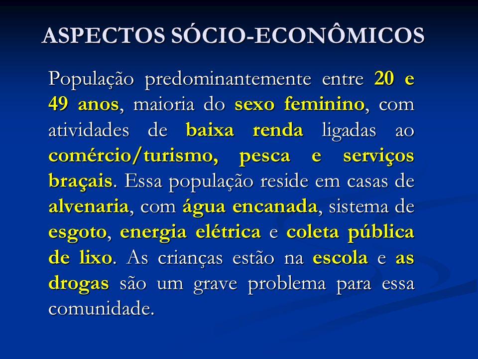 ASPECTOS SÓCIO-ECONÔMICOS População predominantemente entre 20 e 49 anos, maioria do sexo feminino, com atividades de baixa renda ligadas ao comércio/