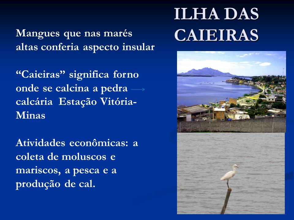 Mangues que nas marés altas conferia aspecto insular Caieiras significa forno onde se calcina a pedra calcária Estação Vitória- Minas Atividades econô