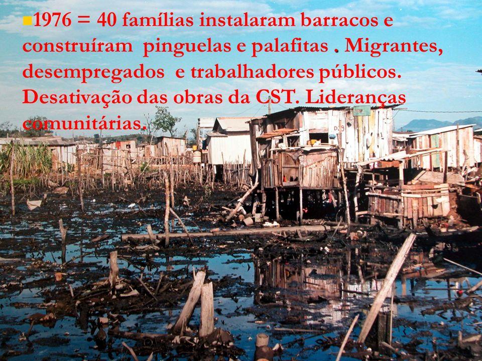 . 1976 = 40 famílias instalaram barracos e construíram pinguelas e palafitas. Migrantes, desempregados e trabalhadores públicos. Desativação das obras